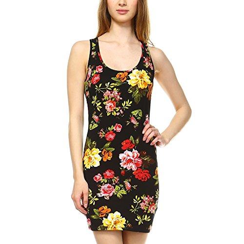 Fashionazzle Women's Sleeveless Floral Printed Bodycon Mini Dress (Large, SPD01-Black)