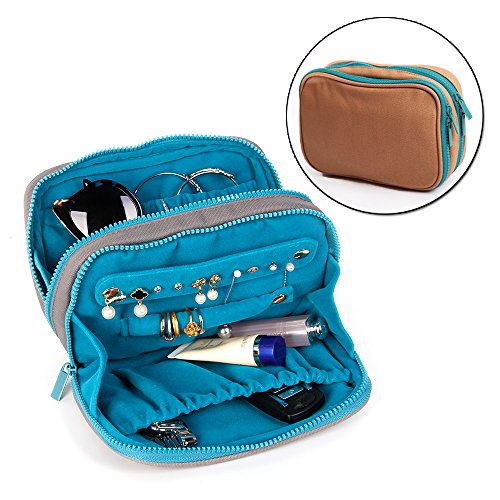 David accessories Travel Jewelry Organizer Bag Case Waterproof Canvas Velvet Fabric with Zipper for Necklace Bracelet Earrings Ring (Camel) ()