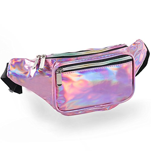 Holographic Fanny Pack for Women - Waist Fanny Pack with Adjustable Belt for Rave, Festival, Travel, Party]()