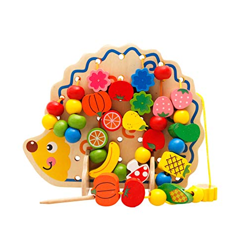 (Hedgehog Fruit Bead Toy Kit Wooden Hedgehog String Bead Toy Fruit Vegetable Beaded Block Toy Kids Threading Bead Block Toy Children Early Educational Toy for Boys Girls)