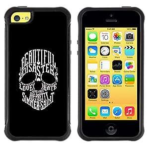 BullDog Case@ Beautiful Sinner Saint Duality Skull Rugged Hybrid Armor Slim Protection Case Cover Shell For iphone 5C CASE Cover ,iphone 5C case,iphone5C cover ,Cases for iphone 5C