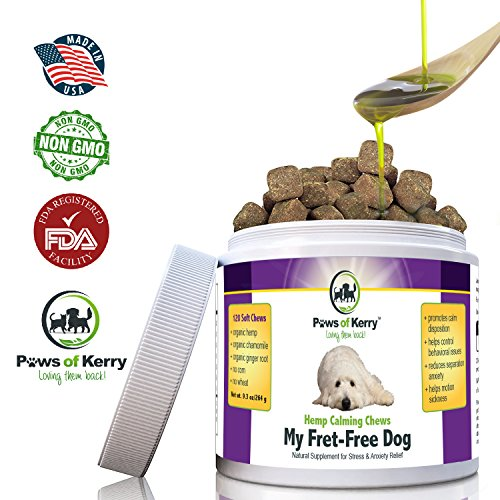 #1 Calming Treats for Dogs Anxiety , Stress Relief from Separation Anxiety, Natural Calming Aid for Motion Sickness, Storms with Organic Hemp Oil, L-Tryptophan & Organic Chamomile |120 Soft Chews USA.