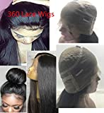 360 Lace Wig with Bbay Hair Human Hair Wigs 150%-180% 360 Wigs Pre Plucked 360 Lace Frontal Wig for High Ponatail Updo 14 Inches1B off Black Color Hair Straight 360 Wig Light Yaki