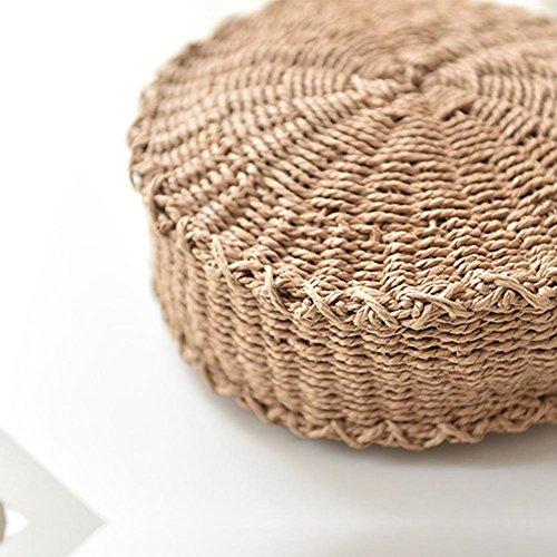 bolso Bolsa de mujer con bolsa verano forro bolsa bandolera de de tejida viaje tejida cremallera a playa pajita único cierre con bandolera de de redonda hecha de de poliéster mano hombro para rqRSr