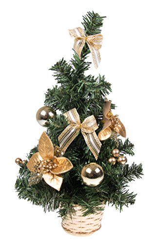 "Mini Artificial Christmas Tree with Gold Bows by Clever Creations | Best Choice Christmas Decoration for Table and Desk Tops | Small 16"" Tall Christmas Pine Tree Perfect for Your Home or Office"