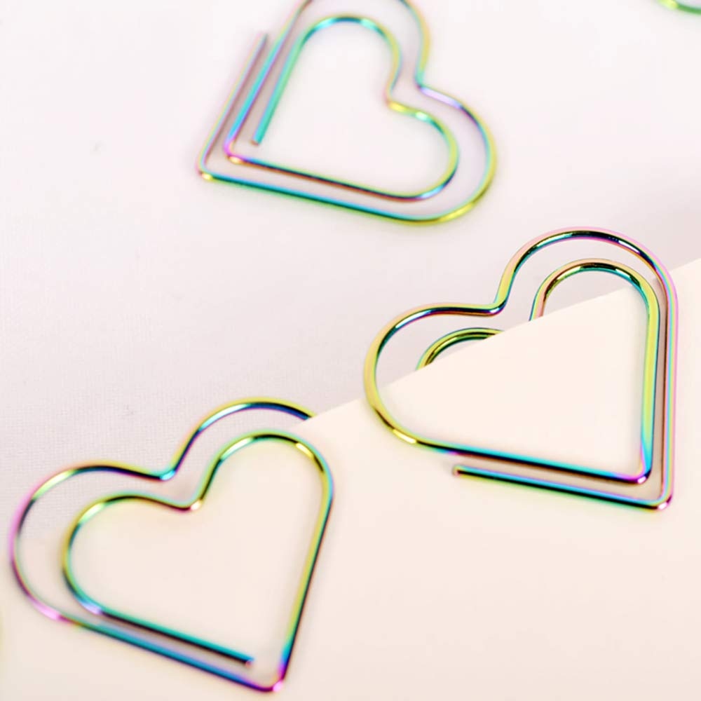 KathShop 12Pcs/set Rainbow Heart Shaped Paper Clips Bookmark Planner Tools Scrapbooking Tools Memo Clip Metal Binder Paperclip