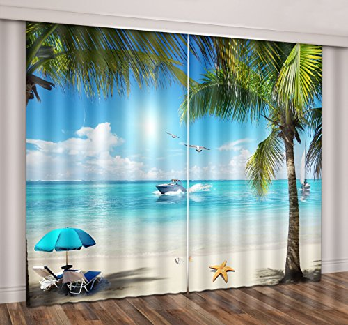 LB Tropical Beach Window Curtains Drapes for Living Room Bedroom,Blue Sky Clear Water Green Palm Tree Leisure Beach Teen Kids Room Decor 3D Blackout Curtains 2 Panels,28 by 65 inch Length - Beach Living Room