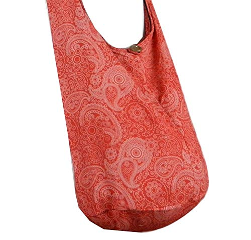 Print Cotton Sling BTP Purse Hobo Thai Pl6 Paisley Large Bag Messenger Hippie Crossbody Red w5vT1fqT