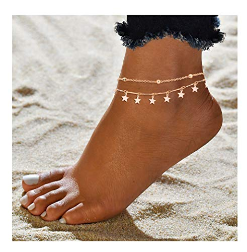 - ForeveRing Z Star Anklet Boho Beach Jewelry Layer Anklet Chain for Women Adjustable Anklet