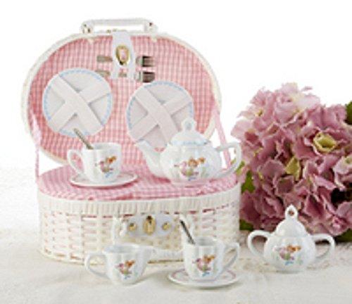 Delton Product Porcelain Tea Set in Basket Mermaid