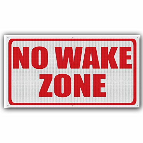 No Wake Zone 2' x 4' Banner - Wind Resistant Mesh - Red Print
