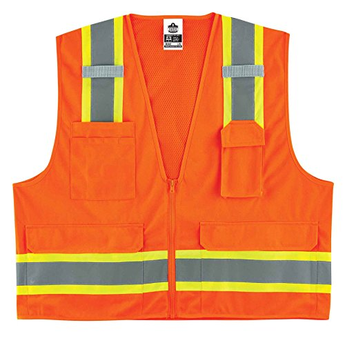 - Ergodyne GloWear 8248Z ANSI Two-Tone Surveyors Reflective Safety Vest, Orange, 4XL/5XL
