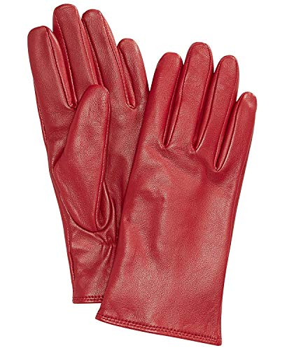 (Saks Off Fifth Avenue Women's Leather Gloves, Cashmere-Lined 100% Sheepskin Leather, True Red ~ Size 8 ~)