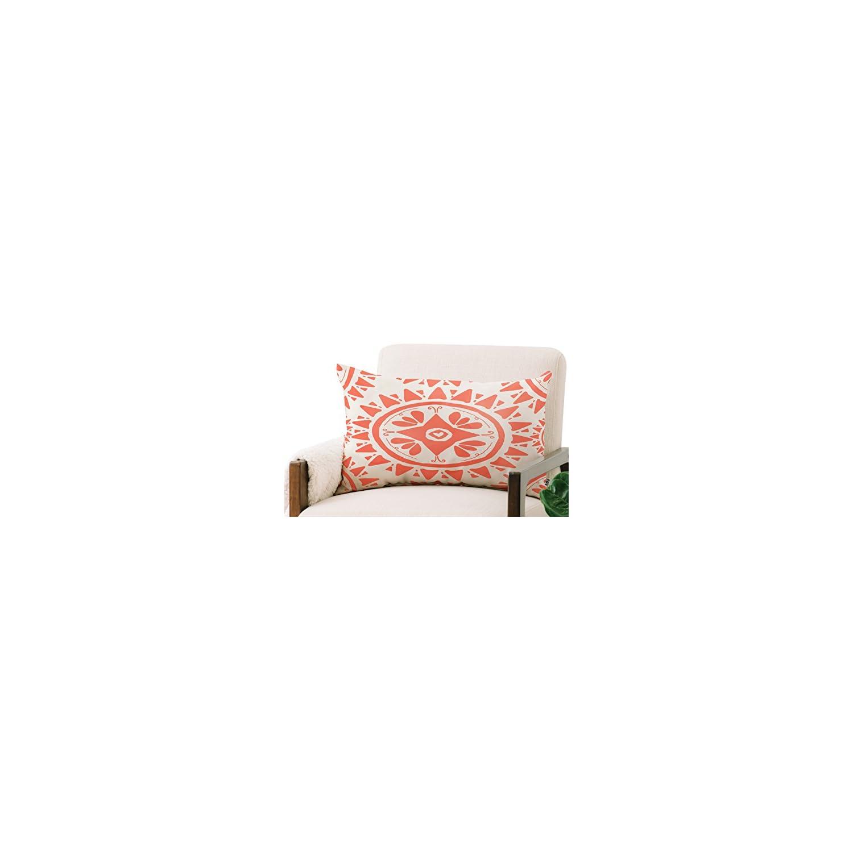 Deny Designs Allyson Johnson Oblong Throw Pillow, Boho Medallion Coral