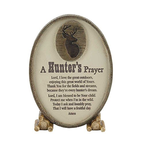 A Hunter's Prayer Oval Shaped Brown 6 x 3.5 Resin Stone Table Top Sign Plaque -