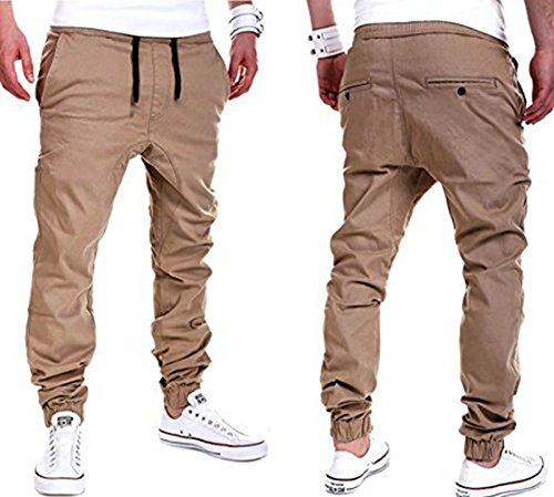 YUNY Mens Outdoor Harem Running Jogger Bottom Pants Khaki XL