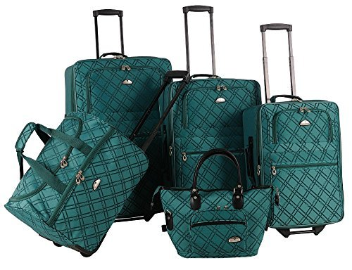 American Flyer Pemberly Buckles 5-Piece Luggage Set, Green,