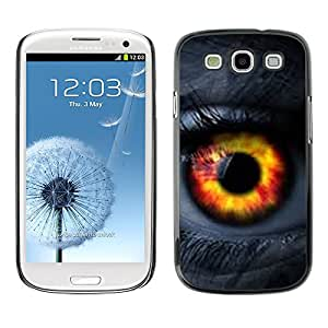 Planetar® ( Eye Fire Orange Passion Woman Lashes ) SAMSUNG Galaxy S3 III / i9300 / i747 Fundas Cover Cubre Hard Case Cover