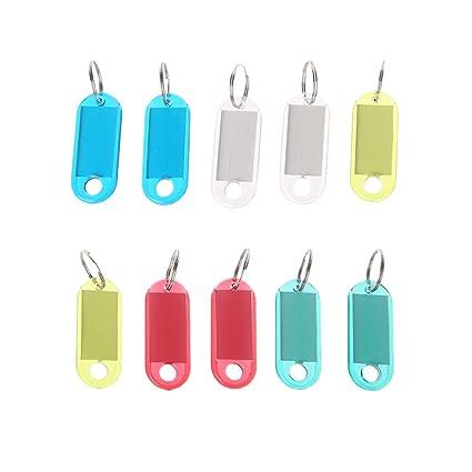 Manyo 10PC Llavero Plástico Transparente Placa Identificable ...