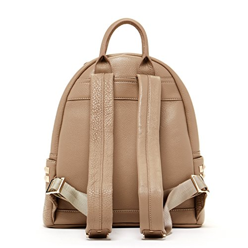 SUSU Real Leather Backpack For Women With Studs Dark Beige Purse ... 350894ec965d9