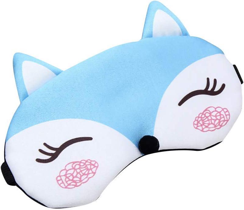 Ogquaton Masque pour les yeux Masque de sommeil Mignon de bande dessin/ée Fox Shade Eye Couverture rembourr/ée Oeil sommeil les yeux band/és Bleu Portable et utile