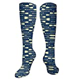 Rowing Oars Navy and Cream Compression Socks for Women and Men - Best Medical,for Running, Athletic, Varicose Veins, Travel.