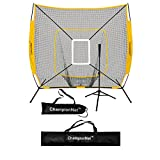 ChampionNet 7′ x 7′ Baseball/Softball Net & Frame with Tee & Target Zone Bundle, Team Colors
