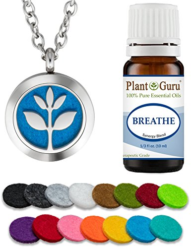 Plant Guru Essential Oil Diffuser Necklace Set Kit With Breathe Blend 10 ml., 25mm Stainless Steel Locket Pendant with 24