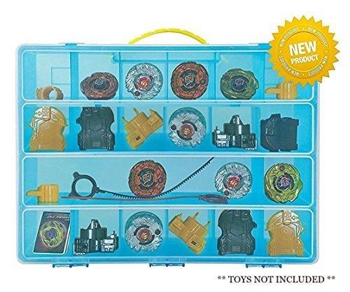 Life Made Better Beyblade Blue Case, Battle Box for Kids, Compatible with Beyblades, 17 Compartment Playset Organizer (Blue)