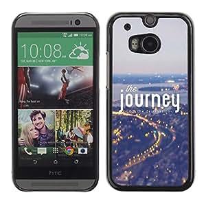 El viaje de texto Luces Ciudad Traza Noche - Metal de aluminio y de plástico duro Caja del teléfono - Negro - HTC One M8
