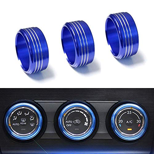 iJDMTOY 3pcs Blue Anodized Aluminum AC Climate Control Knob Ring Covers Compatible With Subaru WRX, STI, Impreza, Forester, XV Crosstrek