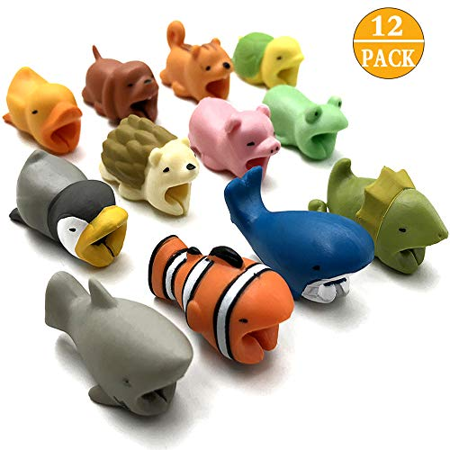 CKANDAY 14 Pcs Cute Animal Cable Bites Protector Saver Chompers Chewers Buddies Protection for Cellphone Phone Accessories Charger Cord USB Charging Cable (Whale Cord Keeper)
