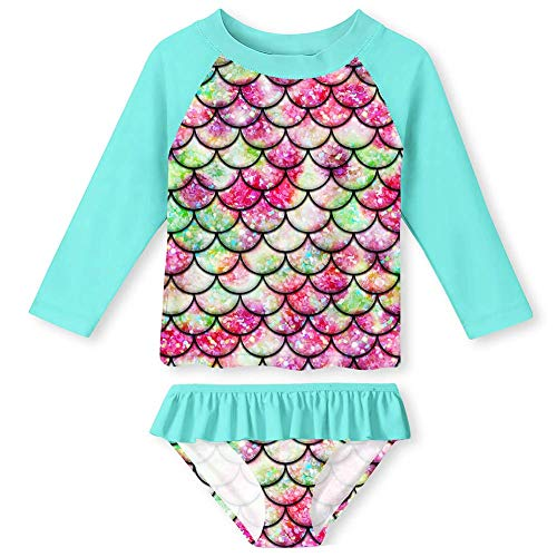 UNIFACO Baby Girls Long Sleeve Rash Guard Set Two Pieces Swimsuit 3D Print Mermaid Scale Quick Drying Full Coverage Swimwear