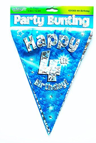 Happy 4th Birthday Flag Bunting Age Boys Blue Pennant Banner Party Decorations By Card And