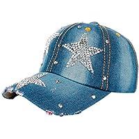 Clearance! Fashion Boy Girls Hip Hop Flat Hat Shinny Bling Studded Rhinestone Stars Duck Hat Denim Baseball Cap Sun Hat