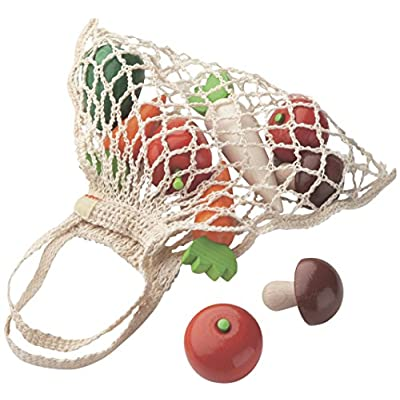 HABA Shopping Net Vegetables - 9 Piece Wooden Pretend Play Food Set in Cotton Bag (Made in Germany): Toys & Games