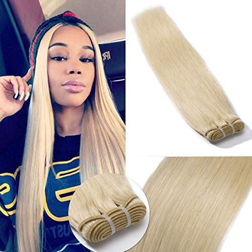 60 Virgin Hair Bundles 7A Sew in Blonde Bundle 100% Unprocessed Brazilian Human Hair Weft Weave Extensions Thick Silky Straight One Bundle for Women 18 Inch Platinum Blonde (Best Quality Weft Hair Extensions)