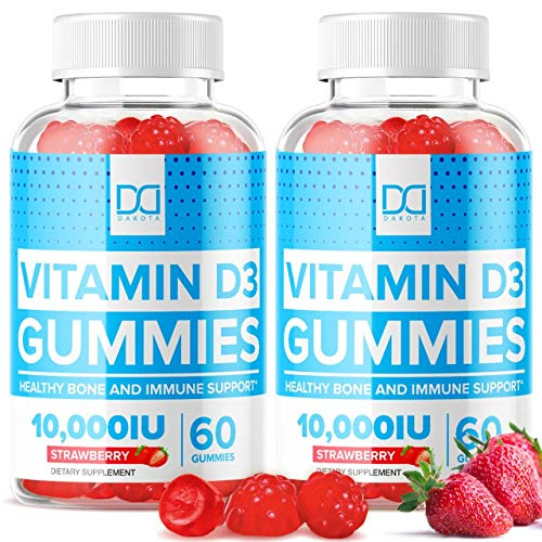 Vitamin D3 Gummies 10000 IU with Zinc Echinacea Chewable Supplements Vit D3 for Adults Kids - Pure Vegan Calcium Chews Immune Support, Bone Health, Gummy Alternative to Liquid Drops, Tablets (2 Pack)