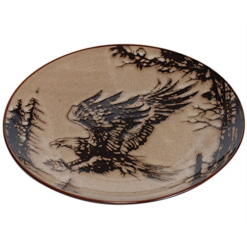 (10.5 Inch Glazed North American Woodlands Design Plate, Eagle)
