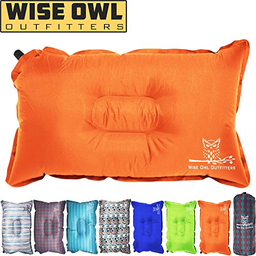 Wise Owl Outfitters Camping Pillow Lightweight & Self Inflating – Inflatable Foam & Air Compact Camp Pillow Best Lumbar Support Travel Airplane Camping Beach Hammock Backpacking Hiking Sleeping -Ora