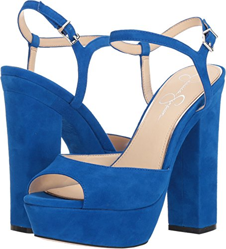Jessica Simpson Women's Lorinna Heeled Sandal, Electric Suede, 7 Medium US (Simpson Sandal Blue Womens Jessica)