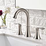 Friho Lead-Free Commercial Two Handle Three-Hole Brushed Nickel Bathroom Vanity Sink Faucets Widespread Bathroom Faucet
