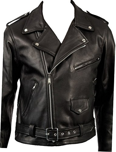 Cow Hide Men's Classic Retro Black Real Leather Brando Motorcycle Biker Jacket 3XL