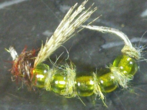 Bead Pupa Caddis (Fishing Sport Eq. GLASSY CADDIS PUPA EMERGER # 12 OLIVE FLY FISHING FLIES, FLY FISHING LURES STRONG FISHING HOOK FLIES TROUT NYMPH)