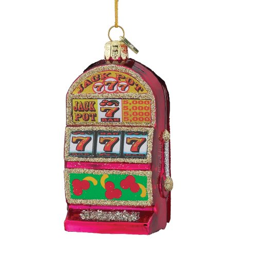 Machine Ornament (Kurt Adler 3-1/2-Inch Noble Gems Glass Slot Machine)