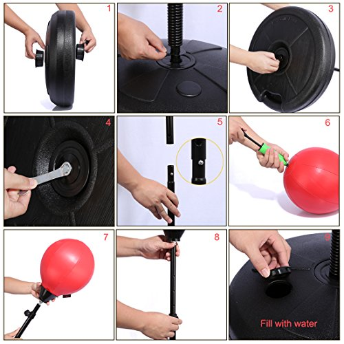 Boxing Training Ball PINCHUANGHUI Adjustable Children Standing Boxing Training Ball Punching Training Set with Gloves- Black + Red by PINCHUANGHUI (Image #4)