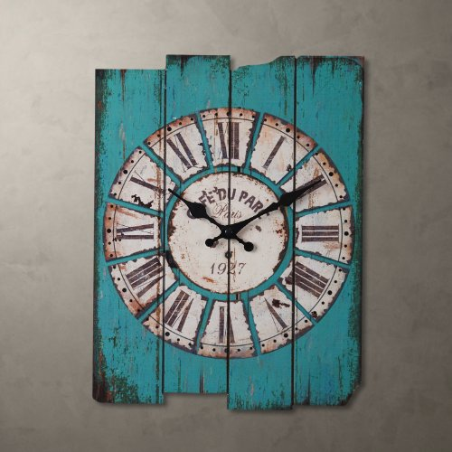 Aero Snail 15 x 12 Inches Vintage Retro Country Style Light Blue Wood Wall Clock Home Decor Watches