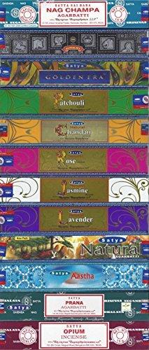 (Set of 12 Nag Champa, Super Hit, Golden Era, Prana, Natural Patchouli, Natural Sandal, Natural Jasmine, Natural Lavender, Natural Rose, Aastha, Opium, Natural by Satya)