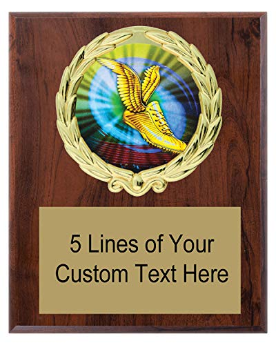 Express Medals 5x7 Cherry Color Track Plaque Award Trophy with Engraved Plate MY4