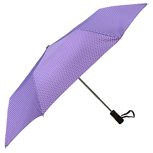 Purple Mini Dot (iRain Automatic Folding Umbrella (Purple with Black Mini Dots))